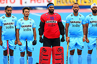 Players from India line up for the national anthems during the Hockey World League Quarter-Final match between India and Malaysia at the Olympic Park, London, England on 22 June 2017. Photo by Steve McCarthy.