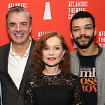 Chris Noth, Isabelle Huppert and Justice Smith during the Opening Night after party for Atlantic Theater Company's 'The Mother' at The Gallery at the Dream Downtown on March 11, 2019 in New York City.