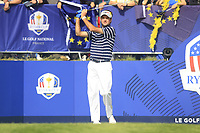 Bubba Watson (Team USA) on the 1st tee during the Friday Foursomes at the Ryder Cup, Le Golf National, Ile-de-France, France. 28/09/2018.<br /> Picture Thos Caffrey / Golffile.ie<br /> <br /> All photo usage must carry mandatory copyright credit (&copy; Golffile | Thos Caffrey)