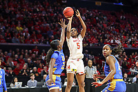 College Park, MD - March 25, 2019: Maryland Terrapins guard Kaila Charles (5) shoots over UCLA Bruins forward Michaela Onyenwere (21) during game between UCLA and Maryland at  Xfinity Center in College Park, MD.  (Photo by Elliott Brown/Media Images International)