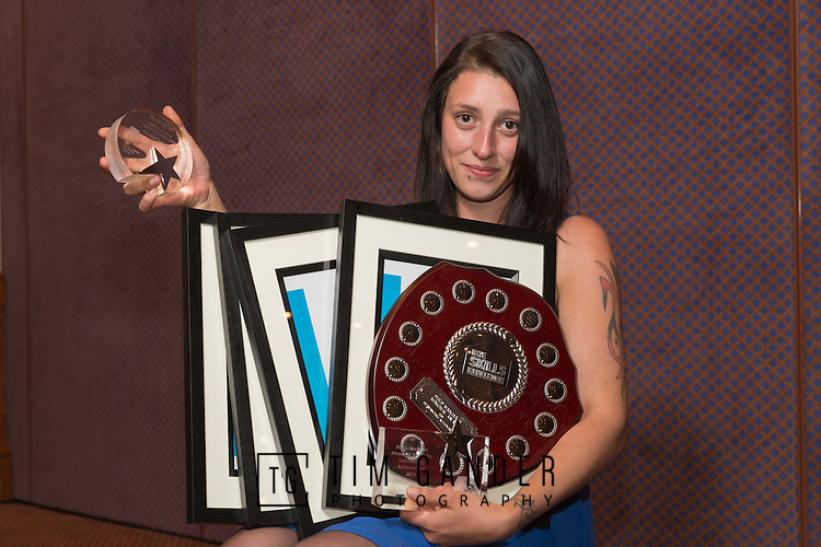 17/07/2015 The IRTE Skills Challenge 2015 prize-giving takes place at The National Motorcycle Museum, Birmingham. Pamela Chapman of Arriva is laden with awards.