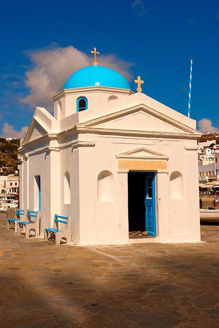 Mykonos Chora harbour Greek Orthodax church of Agios Nikolaos , Cyclades Islands, Greece