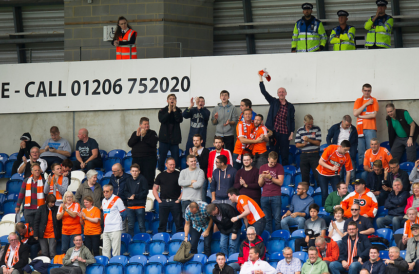 Blackpool fans at the Colchester Community Stadium<br /> <br /> Photographer Ashley Western/CameraSport<br /> <br /> The EFL Sky Bet League Two - Colchester United v Blackpool - Saturday 10th September 2016 - Colchester Community Stadium - Colchester<br /> <br /> World Copyright &copy; 2016 CameraSport. All rights reserved. 43 Linden Ave. Countesthorpe. Leicester. England. LE8 5PG - Tel: +44 (0) 116 277 4147 - admin@camerasport.com - www.camerasport.com
