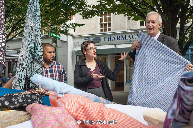 Camden Council Leader Sarah Hayward and Jon Snow at launch of revamped Chalton Street market.