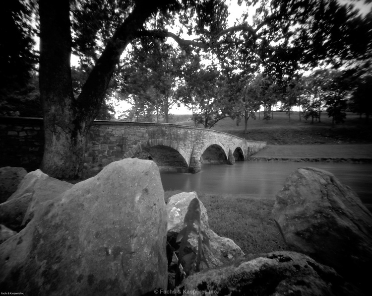 Burnside Bridge over Antietam Creek at Antietam National Military Park near Sharpsburg, Maryland.