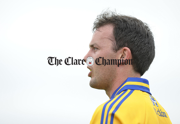 David Tubridy of Clare lines up a free during their Munster Championship semi final against Kerry in Cusack park. Photograph by John Kelly.