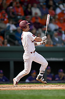 Third baseman Jacob Olson (7) of the South Carolina Gamecocks bats against the Clemson Tigers on Saturday, March 2, 2019, at Fluor Field at the West End in Greenville, South Carolina. Clemson won, 11-5. (Tom Priddy/Four Seam Images)