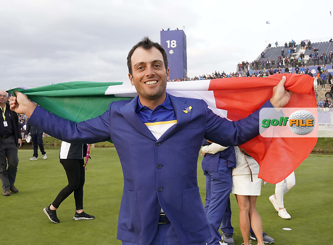 Francesco Molinari (Team Europe) celebrate after winning back the Ryder Cup, Le Golf National, Iles-de-France, France. 30/09/2018.<br /> Picture Claudio Scaccini / Golffile.ie<br /> <br /> All photo usage must carry mandatory copyright credit (© Golffile | Claudio Scaccini)