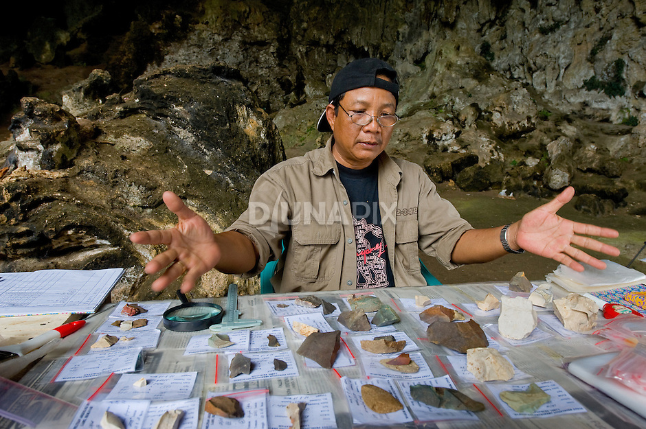 Stone tool researcher Pak Jatmiko faces an enormous job cataloguing the artefacts excavated from Liang Bua cave, discovery site of the Flores hobbit, Homo floresiensis