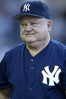 New York Yankees coach Don Zimmer before a 2002 MLB season game against the Los Angeles Angels at Angel Stadium, in Anaheim, California. (Larry Goren/Four Seam Images)