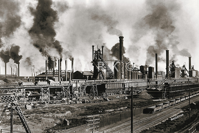 1904 CF&I steel mill with heavy smoke