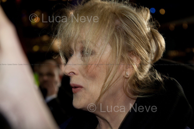 Meryl Streep (American actress and singer).<br /> <br /> London, 04/01/2012. Meryl Streep (American actress and singer) attended the BFI premier of the movie &quot;The Iron Lady&quot; where she played the protagonist role, the former British Prime Minister Margaret Thatcher. The entire cast of the movie attended the night including: Jim Broadbent (English theatre, film, and television actor), Richard E. Grant (British actor, screenwriter and director), Olivia Colman (English actress).