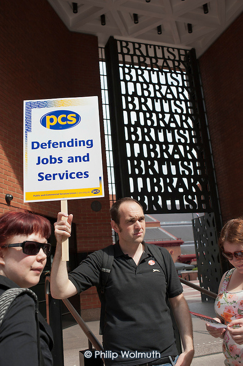 Staff picket the British Library as public sector workers strike over planned pension changes.