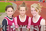 Sophie Lynch, Ciara Donoghue and Alex Dowling Listowel at the Gneeveguilla AC open athletics meet in Castleisland on Sunday..