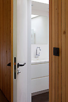 A wood-clad door opens into a modern bathroom