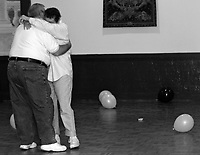 """DERBY, CT- 05 MAY 2007- 070607JT15-.Cancer patient Marie Tyrrell dances with her husband Paul to """"Unchained Melody"""" by the Righteous Brothers during a sock-hop themed party in Tyrrell's honor at the Villa Marianna in Derby on May 5, 2007..Josalee Thrift Republican-American"""