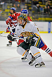 3 February 2008: University of Vermont Catamounts' forward Chris Atkinson, a Freshman from Sparta, NJ, in action against the University of Massachusetts Lowell River Hawks at Gutterson Fieldhouse in Burlington, Vermont. The Catamounts defeated the River Hawks 3-2...Mandatory Photo Credit: Ed Wolfstein Photo