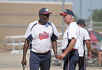 NWA Democrat-Gazette/BEN GOFF @NWABENGOFF<br /> Dr. Vinyl takes on Boyd Metals Thursday, July 13, 2017, during the Men's 65+ Major Division game in the Senior Softball U.S.A. Midwest Championships at the Rogers Regional Sports Park.