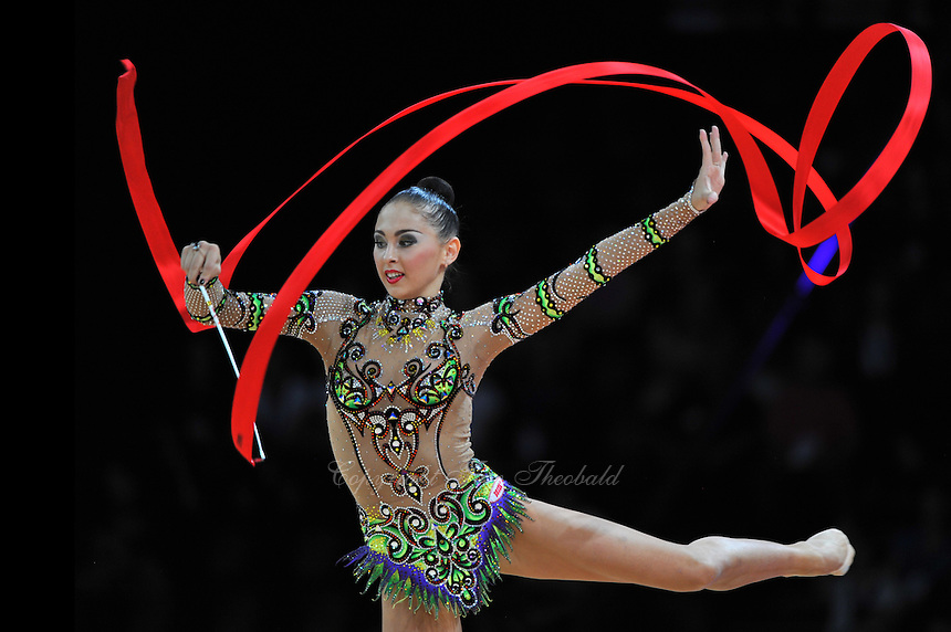 September 21, 2011; Montpellier, France;  DARIA KONDAKOVA of Russia performs with ribbon at 2011 World Championships.