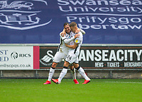 18th July 2020; Liberty Stadium, Swansea, Glamorgan, Wales; English Football League Championship, Swansea City versus Bristol City; Connor Roberts of Swansea City celebrates with teammate Jake Bidwell after scoring his sides first goal in the 45+2nd minute