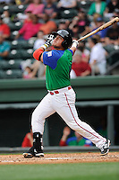 First baseman Cisco Tellez (48) of the Greenville Drive bats in a game against the Augusta GreenJackets on Sunday, April 12, 2015, at Fluor Field at the West End in Greenville, South Carolina. Augusta won, 2-1. (Tom Priddy/Four Seam Images)
