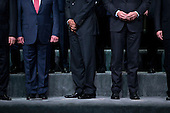 Xi Jinping, China's president, from right, Mark Rutte, Dutch prime minister, U.S. President Barack Obama and King Abdullah II ibn Al Hussein of Jordan stand during a family photo at the Nuclear Security Summit in Washington, D.C., U.S., on Friday, April 1, 2016. After a spate of terrorist attacks from Europe to Africa, Obama is rallying international support during the summit for an effort to keep Islamic State and similar groups from obtaining nuclear material and other weapons of mass destruction. <br /> Credit: Andrew Harrer / Pool via CNP