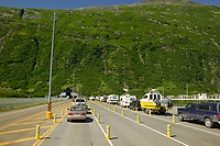 Vehicles wait to pass through the tunnel from Whittier to Portage, a passage way shared with the Alaska Railroad.
