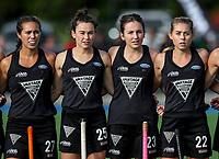 National Anthem during the international hockey match between the Blacksticks Women and India, Rosa Birch Park, Pukekohe, New Zealand. Sunday 14  May 2017. Photo:Simon Watts / www.bwmedia.co.nz