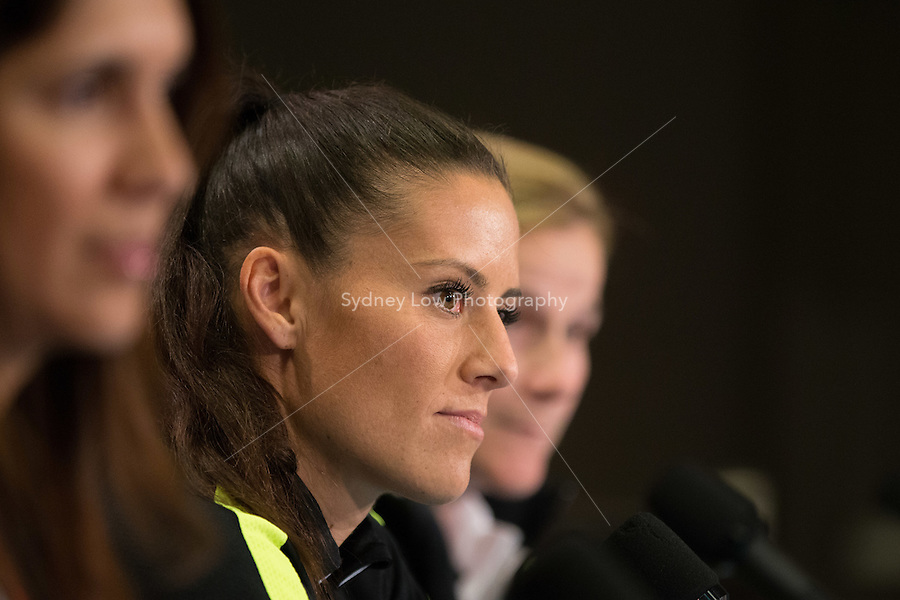 June 15, 2015: Ali KRIEGER of the USA at a press conference prior to a Group D match at the FIFA Women's World Cup Canada 2015 between Nigeria and the USA at BC Place Stadium on 16 June 2015 in Vancouver, Canada. Sydney Low/Asteriskimages.com