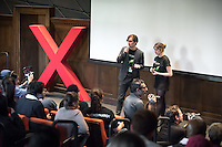 Oxy students Nikolai Birch '18 and Josephine Pesce '18 host.<br /> Occidental College's second TEDx event, Choi Auditorium, April 2, 2016. Featuring talks on sustainability and global development by speakers that included five students, a faculty member and seven external speakers.<br /> (Photo by Marc Campos, Occidental College Photographer)