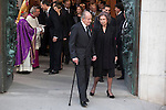 Archbishop of Madrid Rouco Varela (L), Kiang Juan Carlos of Spain and Queen Sofia of Spain leave the state funeral for former Spanish prime minister Adolfo Suarez at the Almudena Cathedral in Madrid, Spain. March 31, 2014. (ALTERPHOTOS/Victor Blanco)