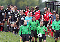 BOYDS, MARYLAND - July 21, 2012:  Players of DC United Women and of the Virginia Beach Piranhas enter the field during a W League Eastern Conference Championship semi final match at Maryland Soccerplex, in Boyds, Maryland on July 21. DC United Women won 3-0.