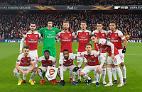 Arsenal team before the UEFA Europa League match between Arsenal and Rennes at the Emirates Stadium, London, England on 14 March 2019. Photo by Andrew Aleksiejczuk / PRiME Media Images.
