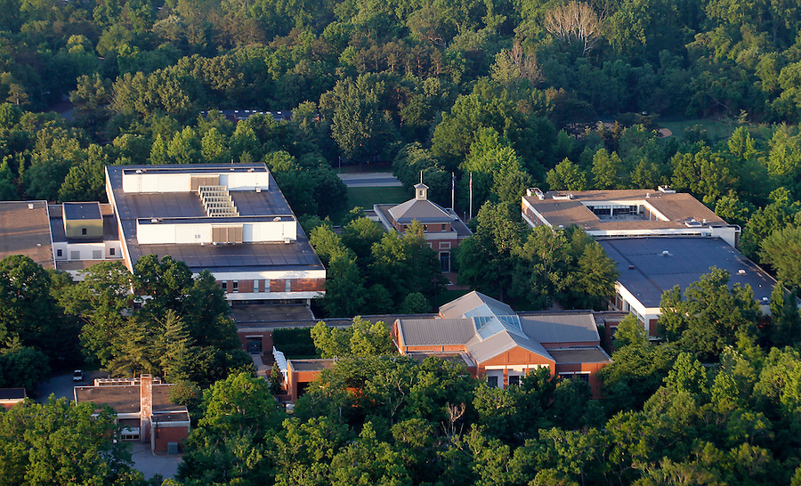 The University of Virginia School of Law aerial shot of the campus taken from a hot air balloon. Photo/Andrew Shurtleff