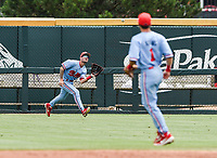 NWA Democrat-Gazette/CHARLIE KAIJO Ole Miss infielder Anthony Servideo (3) makes a catch during game two of the College Baseball Super Regional, Sunday, June 9, 2019 at Baum-Walker Stadium in Fayetteville. Ole Miss forces a game three with a 13-5 win over the Razorbacks