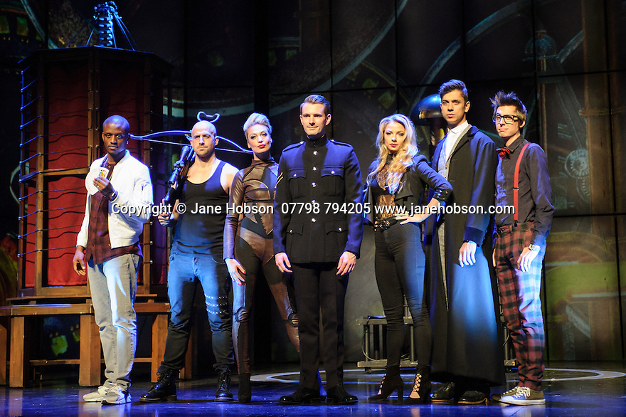 London, UK. 12.07.2016. Jamie Hendry and Gavin Kalin Productions present IMPOSSIBLE, at the Noel Coward Theatre. Following its West End season last year, the magic show returns to London this summer, running from Friday 8th July to Saturday 27th August. Opening night is Wednesday 13th July. The magicians are, from left to right:  Magical Bones, Jonathan Goodwin, Sabine van Diemen, Lance Corporal Richard Jones (winner of Britain's Got Talent 2016), Josephine Lee, Ben Hart, Chris Cox. Picture shows:  Photograph © Jane Hobson.