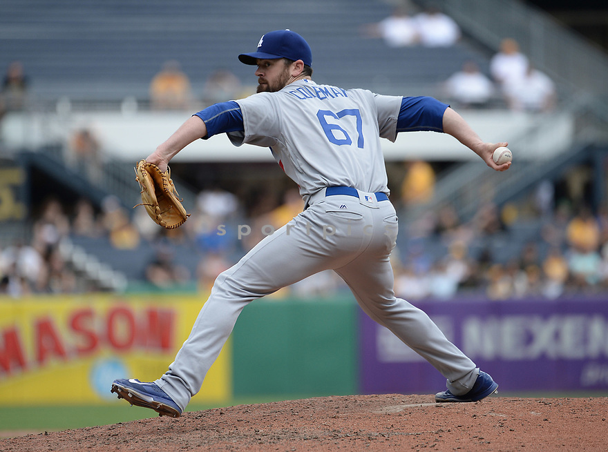 Los Angeles Dodgers Louis Coleman (67) during a game against the Pittsburgh Pirates on June 27, 2016 at PNC Park in Pittsburgh, PA. The Dodgers beat the Pirates 4-3.