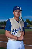 AZL Brewers Gold Carlos Rodriguez (14) poses for a photo before an Arizona League game against the AZL Brewers Blue on July 13, 2019 at American Family Fields of Phoenix in Phoenix, Arizona. The AZL Brewers Blue defeated the AZL Brewers Gold 6-0. (Zachary Lucy/Four Seam Images)