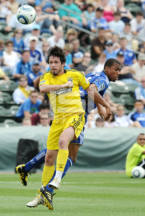 Danny O'Rourke (yellow), Teal Bunbury...Kansas City Wizards were defeated 1-0 by Columbus Crew at Community America Ballpark, Kansas City, Kansas.