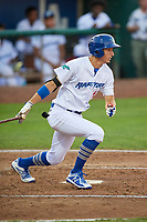Mitchell Hansen (11) of the Ogden Raptors bats against the Great Falls Voyagers at Lindquist Field on August 16, 2017 in Ogden, Utah. The Voyagers defeated the Raptors 11-6. (Stephen Smith/Four Seam Images)