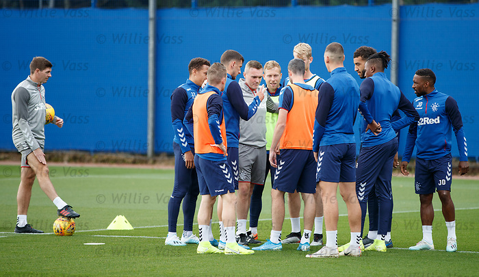 28.08.2019 Rangers training: Borna Barisic, Filip Helander and Jamie Murphy lead the teams in rock, paper, scissors to decide the start of training teams
