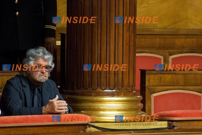 Beppe Grillo<br /> Roma 15-07-2014 Senato Aula. Disposizioni per il superamento del bicameralismo paritario, la riduzione del numero dei parlamentari, il contenimento dei costi di funzionamento delle istituzioni, la soppressione del CNEL e la revisione del Titolo V della parte seconda della Costituzione.<br /> Photo Samantha Zucchi Insidefoto