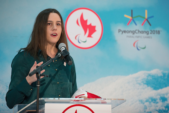 Ottawa, ON - January 24 2017 - Aurélie Rivard speaks as Todd Nicholson is announced as the Team Canada Chef de Mission for the 2018 Paralympic Winter Games in Pyeongchang, South Korea at the Jim Durrell Recreation Complex in Ottawa, Ontario, Canada (Photo: Matthew Murnaghan/Canadian Paralympic Committee)