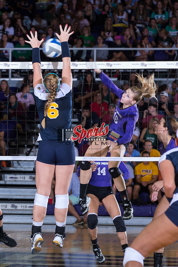 Chelsea Davis (16) of the High Point Panthers attacks the ball during the match against the UNC Greensboro Spartans at Millis Athletic Center on September 16, 2014 in High Point, North Carolina.  The Panthers defeated the Spartans 3-0.   (Brian Westerholt/Sports On Film)