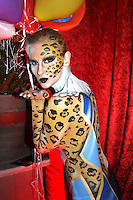 Circus body painting and photoshooting with model Randy as a clown / leopard in the Rattenfaengerhalle. Hamelin on February 7, 2015 - Body Paint Artist: Jörg Düsterwald