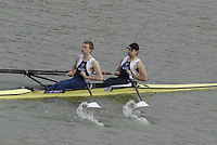 "Seville. SPAIN, GBR M2X bow Simon FIELDHOUSE and Alex GREGORY17.02.2007, clears the ""Puente de la Barqueta"" [bridge] during Saturdays heats, of the FISA Team Cup, held on the River Guadalquiver course. [Photo Peter Spurrier/Intersport Images]    [Mandatory Credit, Peter Spurier/ Intersport Images]. , Rowing Course: Rio Guadalquiver Rowing Course, Seville, SPAIN,"