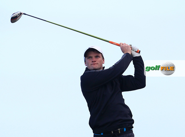 Conor Coyne (Youghal) on the 2nd tee during Round 2 of the East of Ireland Amateur Open Championship at Co. Louth Golf Club, Baltray on Sunday 30th May 2015.<br /> Picture:  Thos Caffrey / www.golffile.ie