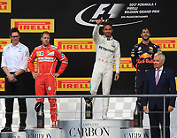 Spa 27/08/2017 Formula 1 / GP F1 Belgio Francorchamps <br /> <br /> Vettel Nr. 5 Ferrari-Hamilton Nr. 44 Mercedes-Ricciardo Nr. 3 Red Bull <br /> Foto Benoit Bouchez / Photonews /Panoramic /Insidefoto