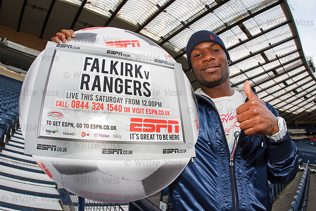 Rangers midfielder Maurice Edu at Hampden to promote ESPN's TV coverage of Falkirk v Rangers on Saturday