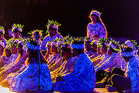 O Faaa choir performing during the Heiva i Tahiti (July cultural festival), Place Toata, Papeete, Tahiti, French Polynesia.